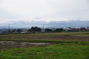 山形の田んぼから見える月山